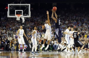 Villanova's Kris Jenkins makes the game-winning three-point shot during the second half of the NCAA Final Four tournament college basketball championship game against North Carolina Monday, April 4, 2016, in Houston. (AP Photo/David J. Phillip)