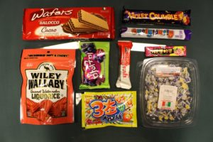 Photo by Seth Culp-Ressler | Features Editor. The full spread of international candies and treats tasted.