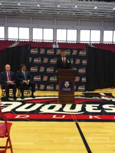 Dave Harper addresses the media after being named incoming Director of Athletics for Duquesne University on Sept. 1, 2015. He began his duties as active athletic director in October 2015.