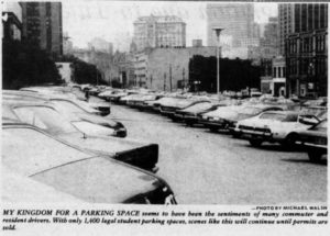 Courtesy Gumberg Library Digital Collections. In 1977, students were struggling to find parking on campus, a familiar difficulty for students today.