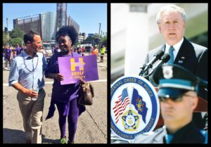Courtesy of Josh Shapiro and John Rafferty Democratic attorney general candidate Josh Shapiro (left) pictured at a Labor Day rally in Pittsburgh and Republican candidate John Rafferty (right) pictured at a Fraternal Order of Police event in Harrisburg. The pair spoke with The Duke on their sexual assault policies.