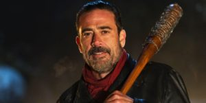 Courtesy of AMC Studios Season seven focuses around a new villain, Negan, played by Jeffrey Dean Morgan. Negan was introduced in issue 100 of the comic, on which the season seven premiere is heavily based.