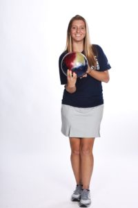 Courtesy of Duquesne Athletics Standout freshman Kelsey Hackbart poses before the start of her freshman bowling campaign.