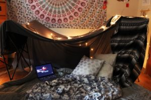 Taylor Carr | Staff Photographer Blanket forts are always a solid way to have fun while avoiding the rainy fall weather.