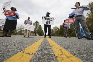 AP PhotoFaculty and their supporters picket at Cheyney University in Cheyney, Pa., Thursday, Oct. 20, 2016. Faculty at Pennsylvania state universities continue their strike that started Wednesday morning, disrupting classes midsemester after contract negotiations hit an impasse.