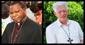 Courtesy of the Office of Marketing and Communications Msgr. Dieudonné Nzapalainga (left) and Msgr. Maurice Piat (right). The pair of African archbishops are the first Spiritans appointed to the Vatican's College of Cardinals.