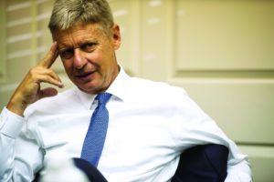 Libertarian candidate for President Gary Johnson meets with The News & Advance editorial board on Monday, Oct. 17, 2016 in Lynchburg, Va. (Jay Westcott/The News & Advance via AP)