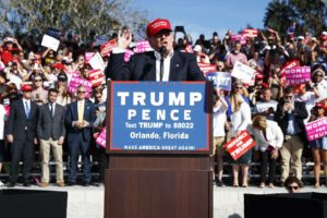 AP Photo Donald Trump speaks at a campaign rally in Orlando, Florida. The candidate's threat of expanding libel laws may have a negative impact on satirists in the U.S.