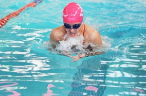 Courtesy of Duquesne Athletics A Duquesne swimmer competes in the breaststroke competition in a dual meet versus Oakland University back on Oct. 14. The Dukes have gone a perfect 7-0 since their first meet against Oakland.