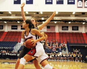 Bry McDermott | Asst. Photo Editor Duquesne women's basketball senior Amadea Szamosi drives to the basket against Lehigh University on Nov.13. Szamosi finished with a career-high 19 rebounds to go along with her 15 points in the game.