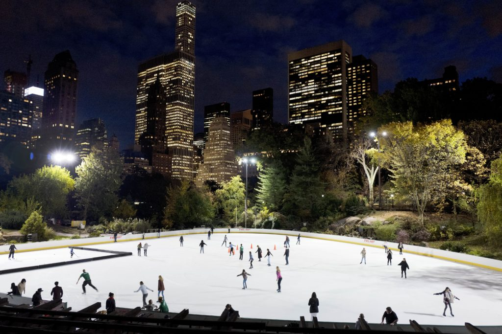 AP Photo In this Thursday, Nov. 3 photo, skaters take to the ice at Wollman Rink in New York's Central Park.