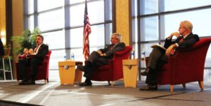 Taylor Carr   Staff Photographer Duquesne President Ken Gormley (left) speaks at a Nov. 7 event about his book as Pittsburgh Post-Gazette Executive Editor David Shribman (center) and James Robenault (right), former chair of the business litigation goup at Thompson Hine LLP, listen on.
