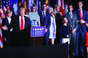 AP Photo President-elect Donald Trump, is joined by his family as he gives his acceptance speech during his election night rally, Wednesday, Nov. 9, 2016, in New York. (AP Photo/Mary Altaffer)