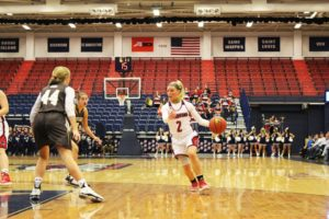 Bry McDermott | Asst. Photo Editor Sophomore point guard Chassidy Omogrosso drives to the basket. Omogrosso leads Duquesne with 14.3 points per game so far.