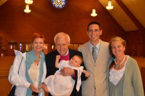Courtesy of the Office of Marketing and CommunicationsPeláez (second from left) pictured holding grandson Rocco, with his children (from left) Mara, John and Linda. A longtime law professor, Peláez died Nov. 27 at age 81. Peláez and his late wife, Bridget, are the namesakes of the Legal Writing Center.