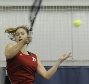 Courtesy of Duquesne Athletics   Duquesne Sophomore Julianne Herman returns a ball to her St. Bonaventure opponent on April 6, 2016.