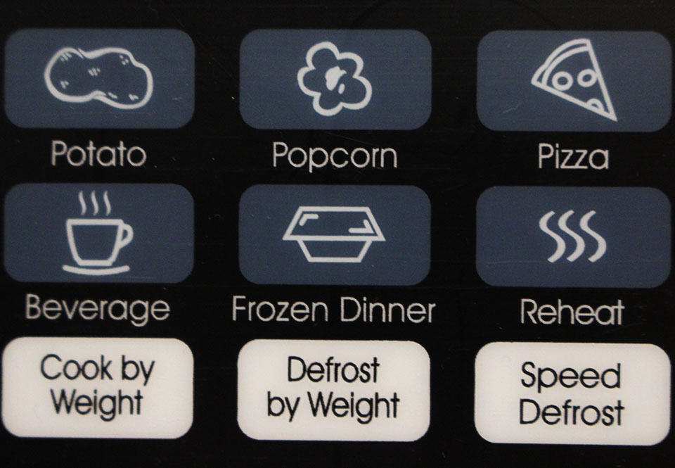 features microwave buttons